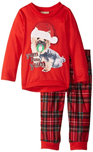 Komar Kids Little Girls' Plaid Holiday Puppy BMJ 2 Piece Set,
