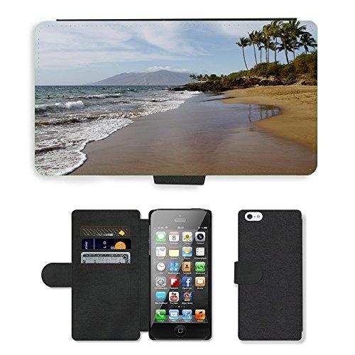 PU Leather Cover Custodia per // M00421783 Plage Hawaï Ocean Tropical Sea // Apple iPhone 5 5S 5G
