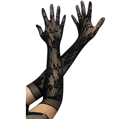 - Fheaven Women Girl Lace Elastic Hip-hop Super Long Arm Gloves (Black)