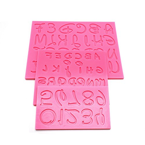 AK ART KITCHENWARE 3PCS/SET Number & Alphabet Silicone Fondant Mold for Decorating Cake Cupcake Cookie Moulds Pastry DIY Bakery Tools SM-831 Pink