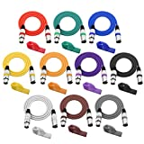 Baoblaze 10 Pieces PVC Multi-colored 3pin XLR Male to XLR Female Cables Microphone MIC DMX512 Cables 2m