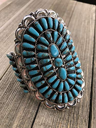 - Nizhoni Traders LLC Navajo Cluster Turquoise Sterling Silver Cuff Bracelet Signed