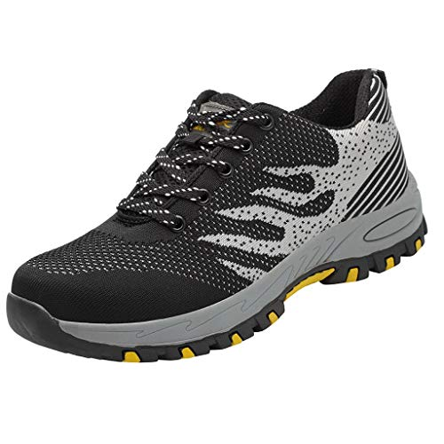 Aubbly Couple Mesh Work Safety Construction Air Cushion Trail Fashion Tennis Sport for Outdoor Climbing Sneakers Black ()