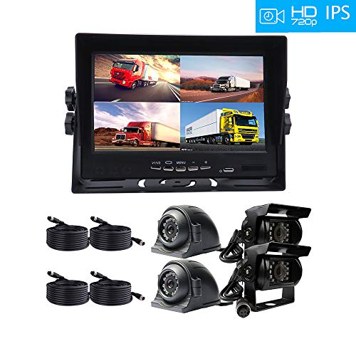 JOINLGO 4 Channel Car Backup Camera System 7 inches AHD IPS Monitor Build-in DVR Recorder with Quad Split Screen Kit 720P AHD Side Rear View Camera for Truck Van Trailers Camper Bus RV