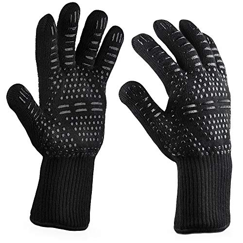 Extreme Heat Resistant BBQ Gloves, Food Grade Kitchen Oven Mitts - Flexible Hot Oven Gloves,Cooking Gloves for Grilling (H) ()