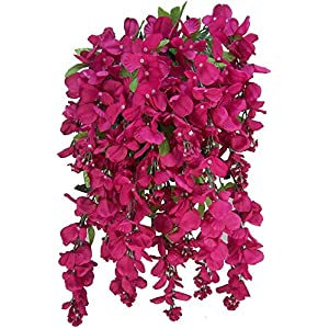 Artificial Wisteria Long Hanging Bush Flowers - 15 Stems For Home, Wedding, Restaurant and Office Decoration Arrangement 1