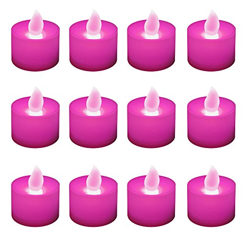 Lumabase 80512 12 Count Battery Operated Tea Lights, Pink