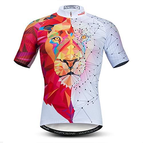 - Men's Cycling Jersey Short Sleeve Bicycle Jacket MTB Breathable Bike Biking Shirt Lion Red White Size L