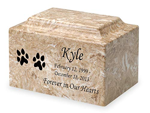 Syrocco Dog Paw Prints Pet Cremation Urn - Personalized - Cultured Marble - 50 Cubic Inch from Mainely Urns