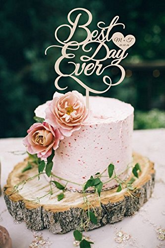 Rustic Wedding Cake Toppers Best Day Ever Personalised Initials And
