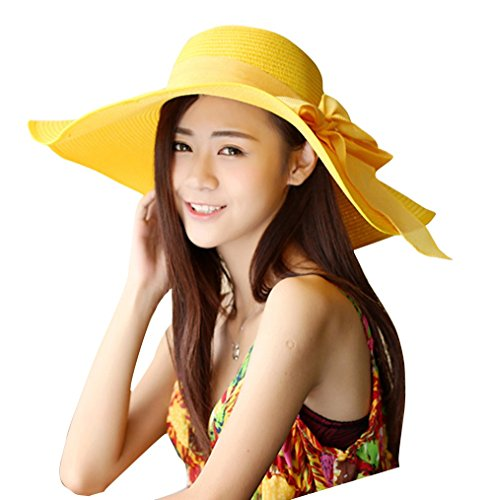 30th floor Women's Summer Wide Brim Beach Hats Sexy Chapeau Large Floppy Sun Caps (Yellow 5)]()