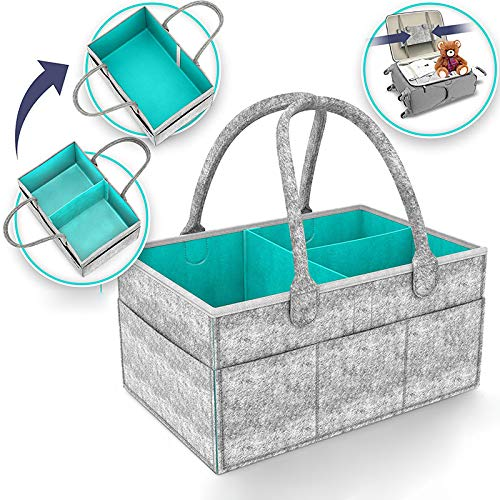 Muswanna Baby Diaper Caddy Organizer, Nursery Storage Bin for Diapers Baby Wipes Toys Changing Table Diaper Change Storage Bag, Portable Car Travel Storage Tote, Baby Shower Gift Basket (38 x 26 x 7cm/15 x 10.2 x 2.7inch)