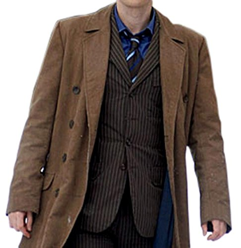10th Doctor Who Costume Collection Brown Cotton Fabric Trench Coat For Mens M (Dr Who Costume Ideas)