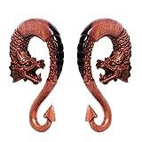 Covet Jewelry Pair of Ebony Wood Dragon Ornamental Hanging Taper with Arrow Tail (00GA)