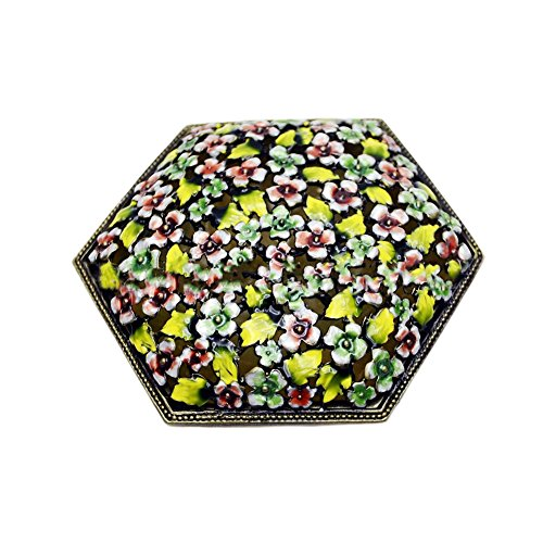 Information Decorative Floral Gift Box - Nerien Hexagon Metal Trinket Box Decorative Jewelry Box Floral Incense box