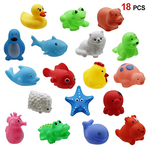 18 Pack Animals Squirter Bath Toy Set for Toddlers Kids, Colorful Assorted Characters