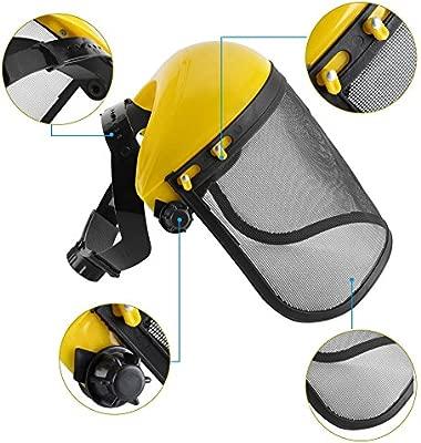 Visor de protección con malla, máscara, Casco de seguridad con visera de malla ajustable para motosierra Jardinería Desbrozadora …