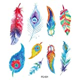 Feather Temporary Tattoos for Kids Realistic 3D Flowers Tattoos Stickers Removable Waterproof Body Art Arm Fake Tattoos Men Women Party Favors (B)