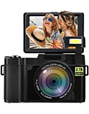 $92 » Digital Camera Camcorder Vlogging Camera 2.7K Ultra HD 24MP Video Camcorders 3.0 Inch 180 Degree Rotation Flip Screen for YouTube with Retractable Flash Light