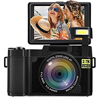 Digital Camera Vlogging Camera 2.7K 24MP Full HD Camera for YouTube 3.0 Inch 180 Degree Rotation Flip Screen with Retractable Flash Light