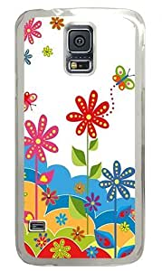Abstract Floral Background Custom Samsung Galaxy S5 Case Back Cover, Snap-on Shell Case Polycarbonate PC Plastic Hard Case white