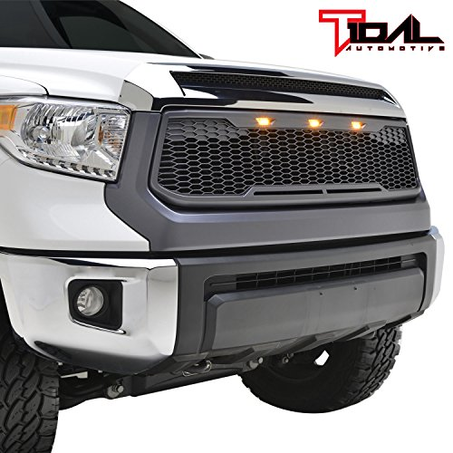 Tidal Replacement Tundra ABS Grille Upper Front Hood Grill - Charcoal Gray - With Amber LED Lights for 14-18 Toyota Tundra