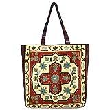 Vintage Bohemian Summer Embroidered Large Tote Bag Tapestry Shoulder Bag Women Handbag (Beige&orange)