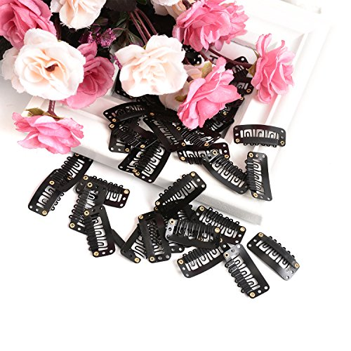 Snap Clips 100 Pcs U-Shape Metallic Clips for Hair Extension Hairpiece DIY Snap-Comb Wig Clips with Rubber (Black)