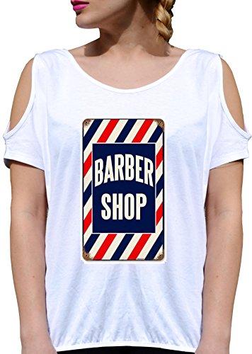 T SHIRT JODE GIRL GGG27 Z1299 BARBER SHOP VINTAGE AMERICA WORK JOB FUNNY FASHION COOL BIANCA - WHITE S