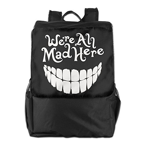Bekey Adult Evil Teeth We're All Mad Here White Outdoor Travel Hiking School Trekking Camping Backpack Daypack - Apocalypse X Men Movie Costume