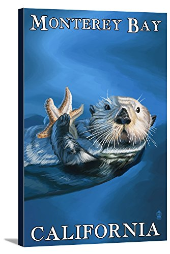 Monterey Bay  California   Sea Otter  12X18 Gallery Wrapped Stretched Canvas