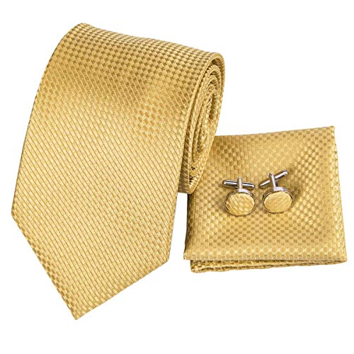 Hi-Tie Silk Neckties Plaid Check Jacquard Tie Pocket Square Cufflinks Set Gift Box (Gold)