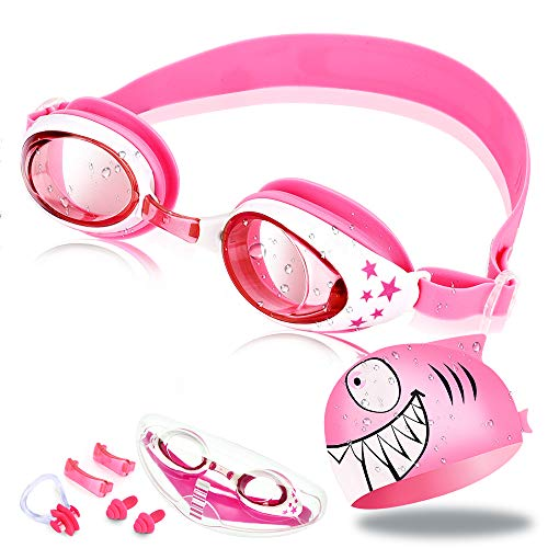 OTraki Swimming Goggles Kids Girls Age 3-12 Leakproof Anti Fog Swim Goggles Early Teens Adjustable Strap Anti Fog UV Protection Swimming Glasses + Silicone Swim Cap, Case, Nose Clip, Ears Plugs Pink