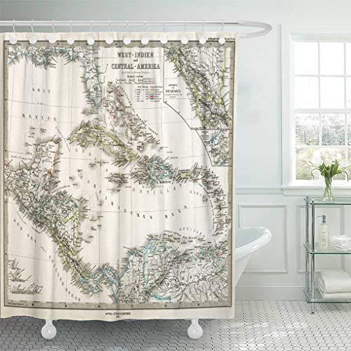 "Emvency Waterproof Fabric Shower Curtain Hooks Caribbean 1875 Antique Stieler Map of West Indies Florida Old 60""X72"" Bathroom Odorless Eco Friendly"