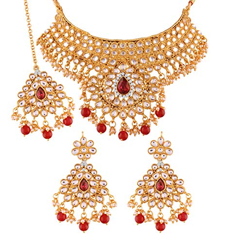 I J ewels Gold Plated Traditional Kundan Choker Necklace Set with Earrings & Maang Tikka for Women (K7074R)