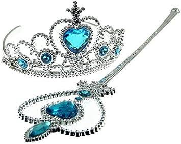 Set corona e bacchetta magica con pietre celesti principessa