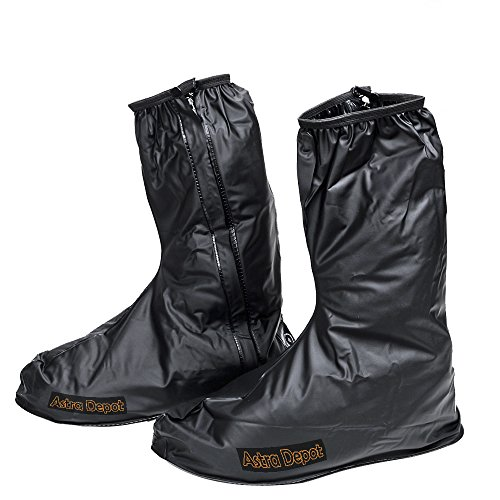 Waterproof Springtime Summer Rainstorm Rainy Day Rainsuit Raingear Motorcycle Road Bike Cruiser Chopper Driving Biker Gear Boot Shoe Cover with Side Zipper Black Adult Mens US 10-11 (Euro 44-45)