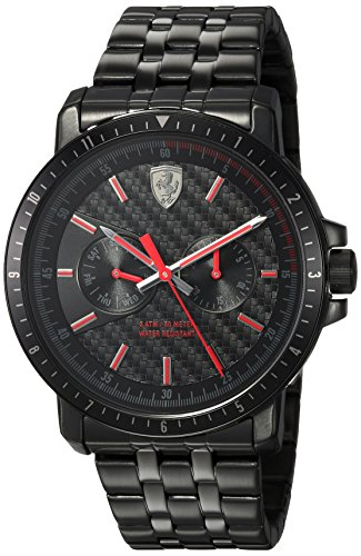 Ferrari-Mens-TURBO-Quartz-and-Stainless-Steel-Plated-Casual-Watch-ColorBlack-Model-830454