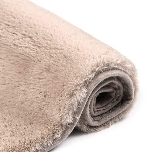 - Uphome Bathroom Rug,Luxury Khaki Bath Mat 17x25 inch Non-Slip Faux Angora Door Carpet Soft Machine-Washable Shag Rug for Shower Doormats Tub