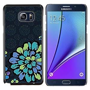 Pétalo de la vendimia Papel pintado retro azul- Metal de aluminio y de plástico duro Caja del teléfono - Negro - Samsung Galaxy Note5 / N920