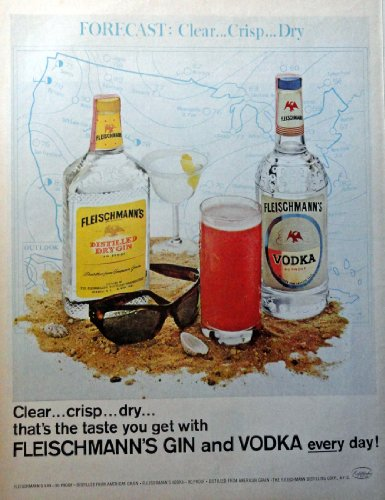 Fleischmann's Gin and Vodka, full page Color Illustration, 10 1/2