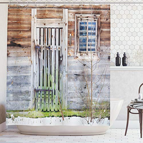 Ambesonne Primitive Country Decor Shower Curtain Neglected Old Farmhouse Rustic Wooden Door and Window Rural Fabric Bathroom Decor Set with Hooks 75 Inches Long Brown Green