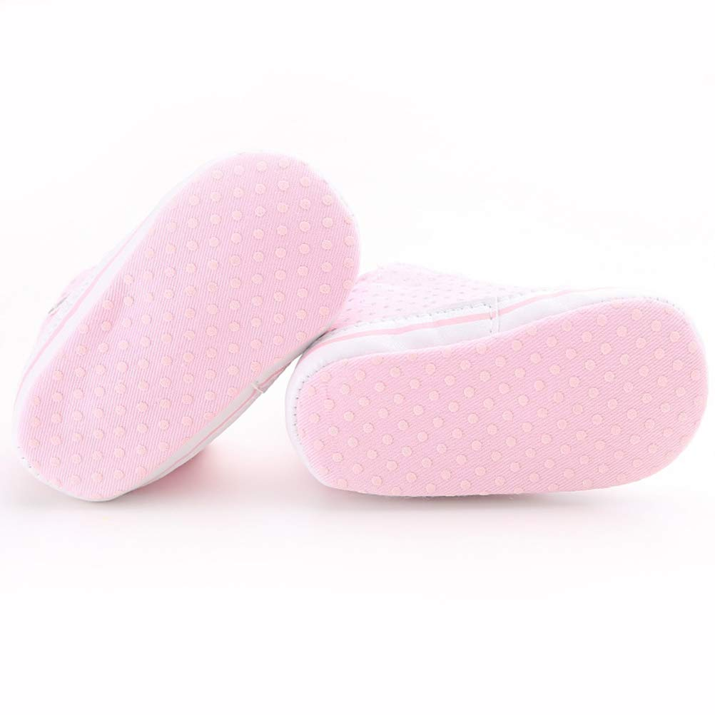 Pink BESTOYARD Baby Girls Toddler Lace Up Anti-Slip Boots Crib Shoes Sneaker for 0-6 Months Size 11