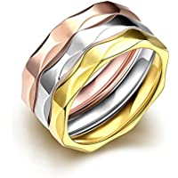 3pcs Gold Silver Rose Gold Rings Jewelry Set Stainless Steel Multi Faceted Band for Women Size 8