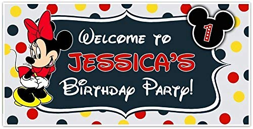 Minnie Mouse Birthday Banner Personalized Party Backdrop Decoration -