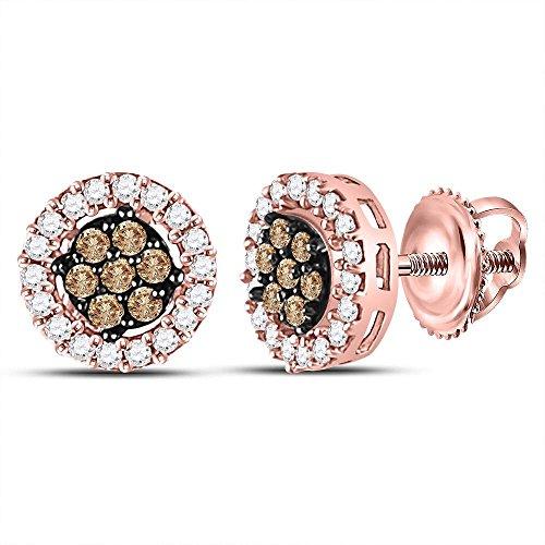 (10k Rose Gold Chocolate Brown Diamond Flower Cluster Screwback Stud Earrings (1/4 Cttw))