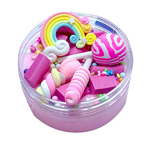 Livoty Beautiful Color Mixing Cloud Slime Rainbow Charms Clear Slime Lollipop Slime Kids Relief Stress Toy (Pink)