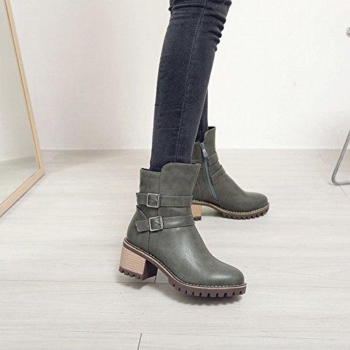 Charm Foot Womens Western Zipper Buckle Chunky Mid Heel Short Boots Grigio