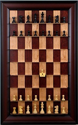 (Basic Chess Pieces on Red Cherry Straight Up Chess set with Red Accent frame)