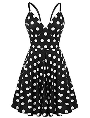 Meaneor Women Plunge V-Neck Backless Polka Dot Skater Dress Spaghetti Strap Sundress